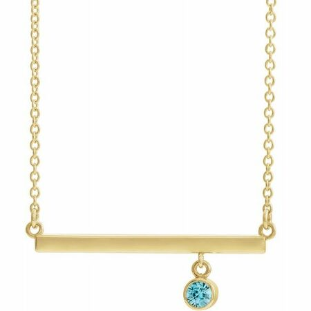 Genuine Zircon Necklace in 14 Karat Yellow Gold Genuine Zircon Bezel-Set 16