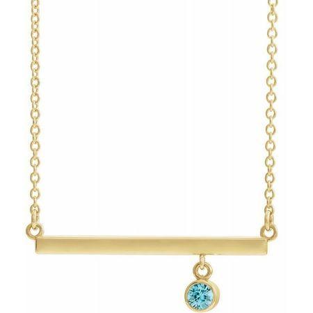Genuine Zircon Necklace in 14 Karat Yellow Gold Genuine Zircon Bezel-Set 18