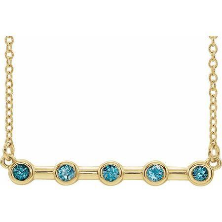 Genuine Zircon Necklace in 14 Karat Yellow Gold Genuine Zircon Bezel-Set Bar 16