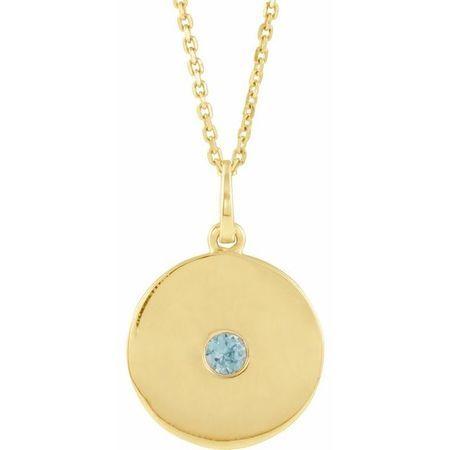 Genuine Zircon Necklace in 14 Karat Yellow Gold Genuine Zircon Disc 16-18