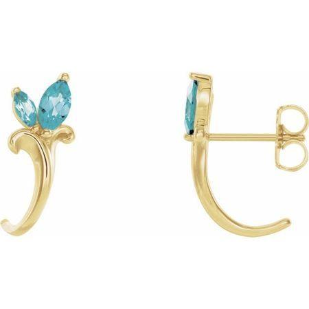 Genuine Zircon Earrings in 14 Karat Yellow Gold Genuine Zircon Floral-Inspired J-Hoop Earrings