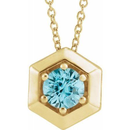 Genuine Zircon Necklace in 14 Karat Yellow Gold Genuine Zircon Geometric 16-18