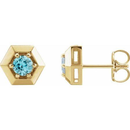 Genuine Zircon Earrings in 14 Karat Yellow Gold Genuine Zircon Geometric Earrings