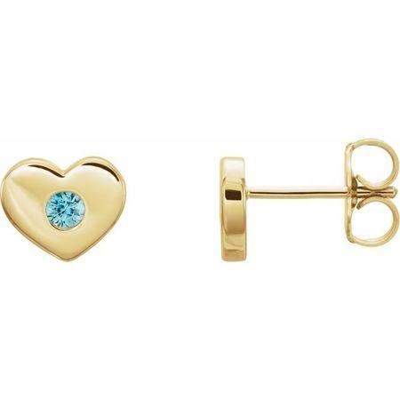 Genuine Zircon Earrings in 14 Karat Yellow Gold Genuine Zircon Heart Earrings