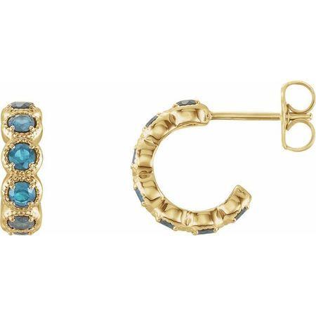 Genuine Zircon Earrings in 14 Karat Yellow Gold Genuine Zircon Hoop Earrings