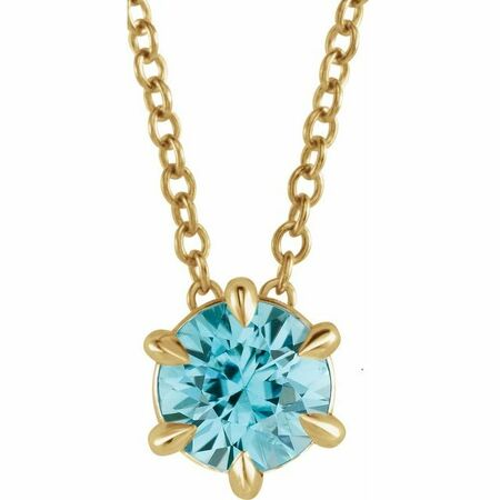 Genuine Zircon Necklace in 14 Karat Yellow Gold Genuine Zircon Solitaire 16-18