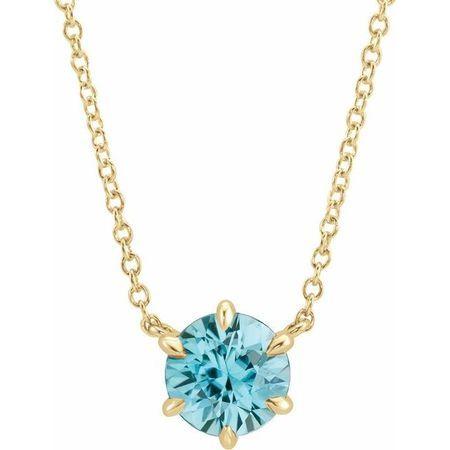 Genuine Zircon Necklace in 14 Karat Yellow Gold Genuine Zircon Solitaire 16