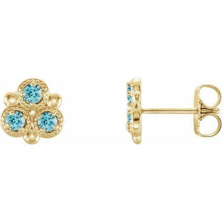 Genuine Zircon Earrings in 14 Karat Yellow Gold Genuine Zircon Three-Stone Earrings