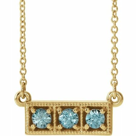 Genuine Zircon Necklace in 14 Karat Yellow Gold Genuine Zircon Three-Stone Granulated Bar 16-18
