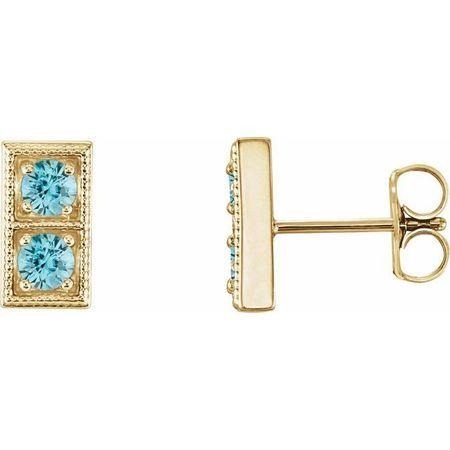 Genuine Zircon Earrings in 14 Karat Yellow Gold Genuine ZirconTwo-Stone Earrings