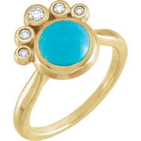 Genuine Turquoise Ring in 14 Karat Yellow Gold Genuinebird Turquoise & .125 Carat Diamond Ring