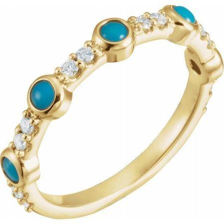 Genuine Turquoise Ring in 14 Karat Yellow Gold Cabochon Turquoise & 0.2 Carat Diamond Ring