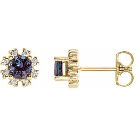 Genuine Alexandrite Earrings in 14 Karat Yellow Gold Chatham Created Alexandrite & .07 Carat Diamond Earrings