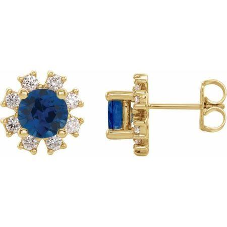 Created Sapphire Earrings in 14 Karat Yellow Gold Chatham Created Genuine Sapphire & 1/2 Carat Diamond Earrings