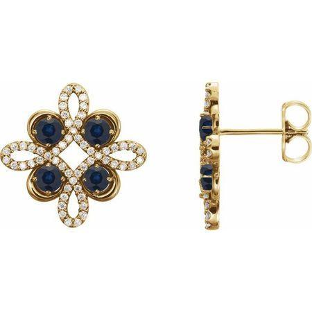 Created Sapphire Earrings in 14 Karat Yellow Gold Chatham Created Genuine Sapphire & 1/4 Carat Diamond Earrings
