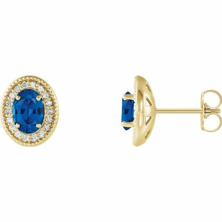 Created Sapphire Earrings in 14 Karat Yellow Gold Chatham Created Genuine Sapphire & 1/5 Carat Diamond Halo-Style Earrings