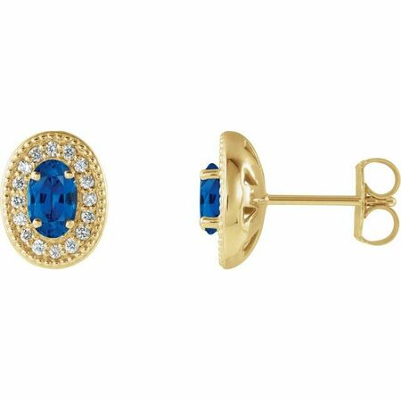Created Sapphire Earrings in 14 Karat Yellow Gold Chatham Created Genuine Sapphire & 1/8 Carat Diamond Halo-Style Earrings