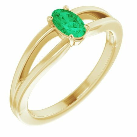 Genuine Emerald Ring in 14 Karat Yellow Gold Chatham Created Emerald Solitaire Youth Ring
