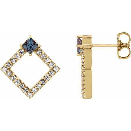 Genuine Alexandrite Earrings in 14 Karat Yellow Gold Chatham Lab-Created Alexandrite & 1/3 Carat Diamond Earrings