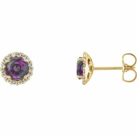 Genuine Chatham Created Alexandrite Earrings in 14 Karat Yellow Gold Chatham Lab-Created Alexandrite & 1/6 Carat Diamond Earrings