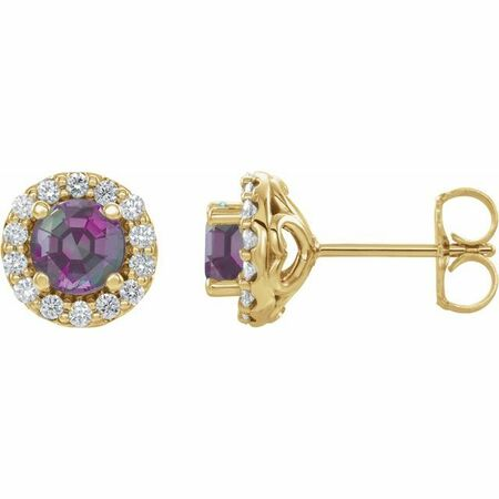 Genuine Alexandrite Earrings in 14 Karat Yellow Gold Chatham Lab-Created Alexandrite & 1/6 Diamond Earrings