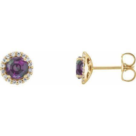 Genuine Alexandrite Earrings in 14 Karat Yellow Gold Chatham Lab-Created Alexandrite & 1/8 Carat Diamond Earrings
