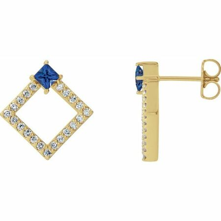 Created Sapphire Earrings in 14 Karat Yellow Gold Chatham Lab-Created Genuine Sapphire & 1/3 Carat Diamond Earrings