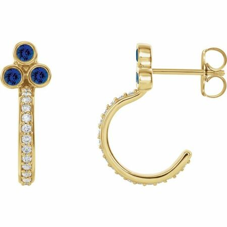 Created Sapphire Earrings in 14 Karat Yellow Gold Chatham Lab-Created Genuine Sapphire & 1/4 Carat Diamond J-Hoop Earrings