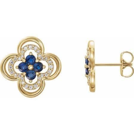 Created Sapphire Earrings in 14 Karat Yellow Gold Chatham Lab-Created Genuine Sapphire & 1/5 Carat Diamond Clover Earrings