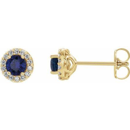 Created Sapphire Earrings in 14 Karat Yellow Gold Chatham Lab-Created Genuine Sapphire & 1/6 Diamond Earrings