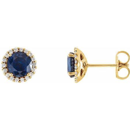 Created Sapphire Earrings in 14 Karat Yellow Gold Chatham Lab-Created Genuine Sapphire & 1/8 Carat Diamond Earrings