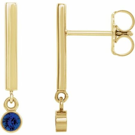 Created Sapphire Earrings in 14 Karat Yellow Gold Chatham Lab-Created Genuine Sapphire Bar Earrings