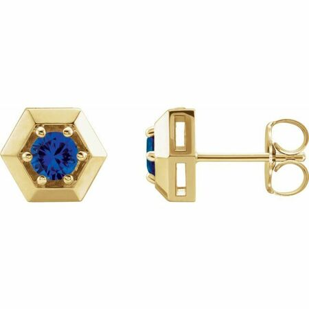 Created Sapphire Earrings in 14 Karat Yellow Gold Chatham Lab-Created Genuine Sapphire Geometric Earrings
