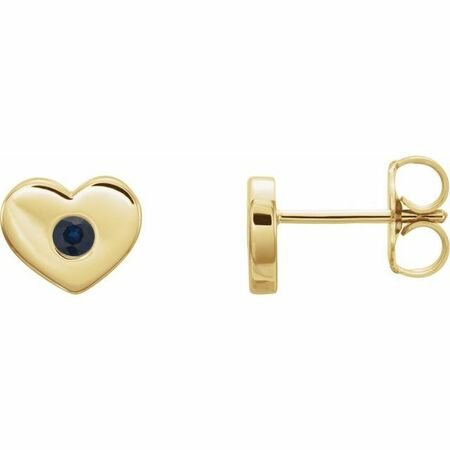 Created Sapphire Earrings in 14 Karat Yellow Gold Chatham Lab-Created Genuine Sapphire Heart Earrings
