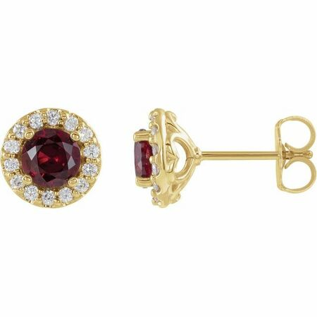 Created Sapphire Earrings in 14 Karat Yellow Gold Chatham Lab-Created Ruby & 1/6 Diamond Earrings