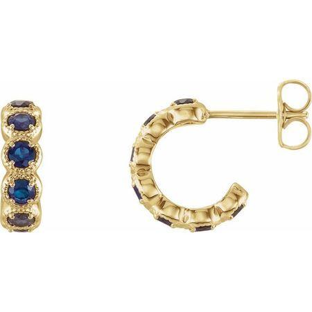 Created Sapphire Earrings in 14 Karat Yellow Gold Chatham Lab-Created Sapphire Hoop Earrings