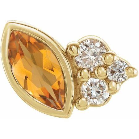 14 Karat Yellow Gold Citrine & .03 Carat Weight Diamond Left Earring