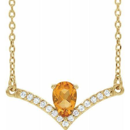 Golden Citrine Necklace in 14 Karat Yellow Gold Citrine & .06 Carat Diamond 18
