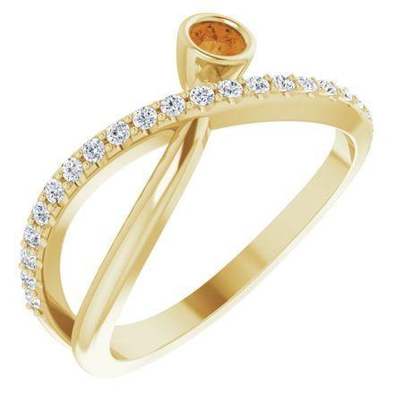 14 Karat Yellow Gold Citrine & 0.2 Carat Weight Diamond Ring