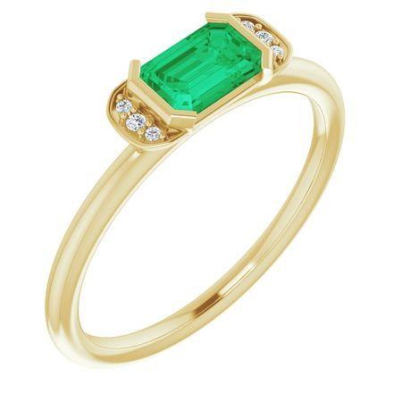 Genuine Emerald Ring in 14 Karat Yellow Gold Emerald & .02 Carat Diamond Stackable Ring