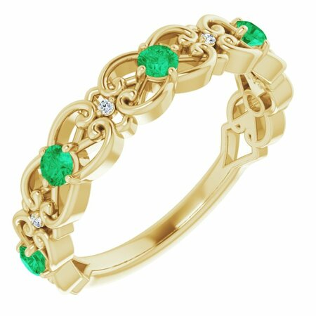 Genuine Emerald Ring in 14 Karat Yellow Gold Emerald & .02 Carat Diamond Vintage-Inspired Scroll Ring