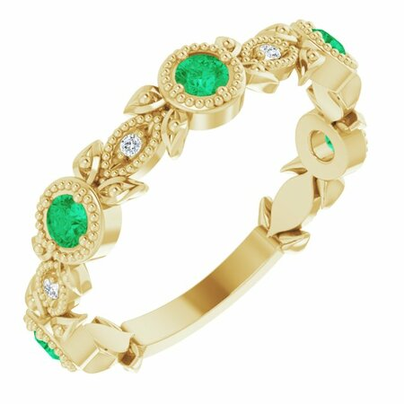 Genuine Emerald Ring in 14 Karat Yellow Gold Emerald & .03 Carat Diamond Leaf Ring