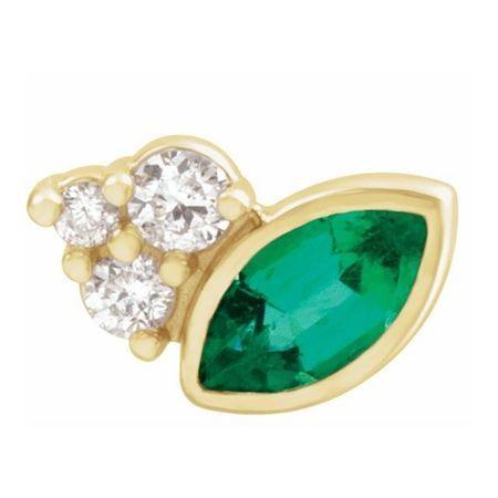 Genuine Emerald Earrings in 14 Karat Yellow Gold Emerald & .03 Carat Diamond Right Earring