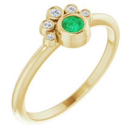 Genuine Emerald Ring in 14 Karat Yellow Gold Emerald & .04 Carat Diamond Ring