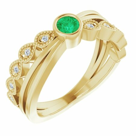 Genuine Emerald Ring in 14 Karat Yellow Gold Emerald & .05 Carat Diamond Ring