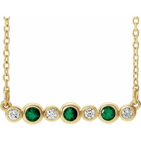 Genuine Emerald Necklace in 14 Karat Yellow Gold Emerald & .08 Carat Diamond Bezel-Set Bar 16-18
