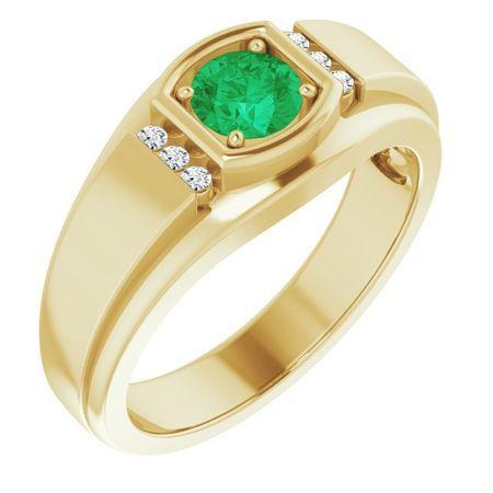 Genuine Emerald Ring in 14 Karat Yellow Gold Emerald & .08 Carat Diamond Men's Ring