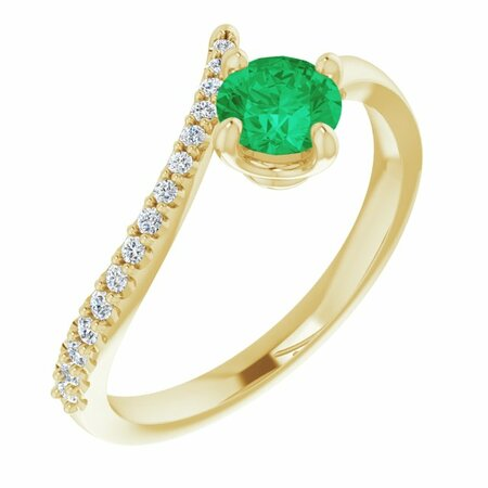 Genuine Emerald Ring in 14 Karat Yellow Gold Emerald & 1/10 Carat Diamond Bypass Ring