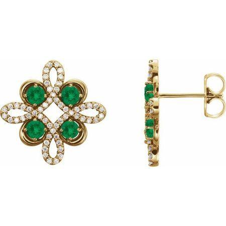 Genuine Emerald Earrings in 14 Karat Yellow Gold Emerald & 1/4 Carat Diamond Earrings