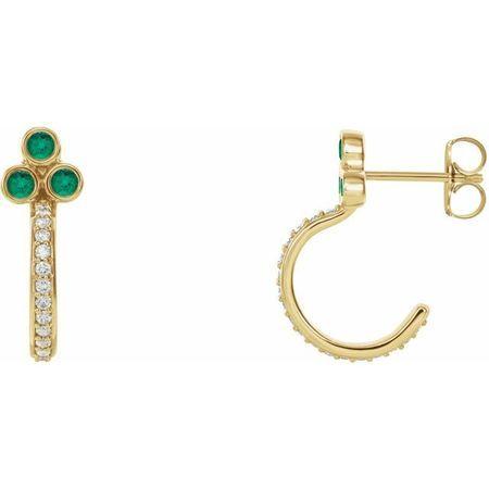 Genuine Emerald Earrings in 14 Karat Yellow Gold Emerald & 1/4 Carat Diamond J-Hoop Earrings